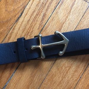 NWOT Madewell Navy Leather Anchor Belt